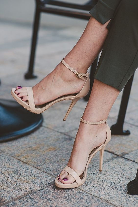 nude high heel strappy sandals
