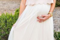 27 blush scallop top and a maxi white skirt for a baby shower