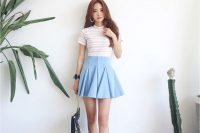 27 flared denim skirt, a striped tee