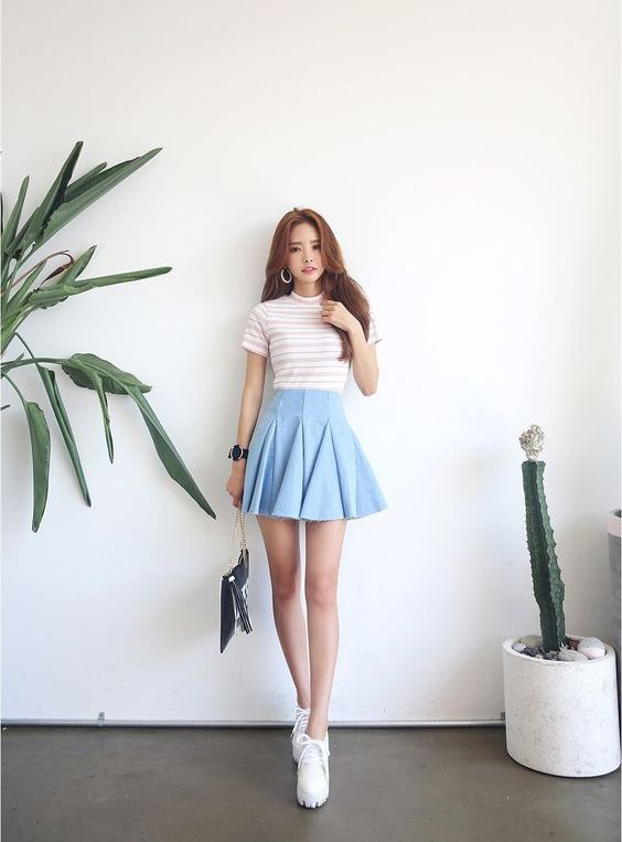 flared denim skirt, a striped tee