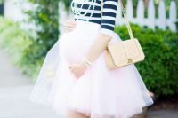 28 blush tulle skirt and a striped top with flats for a baby shower