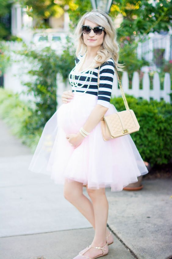 blush tulle skirt and a striped top with flats for a baby shower
