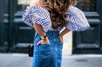 28 fringed denim skirt with an off the shoulder top