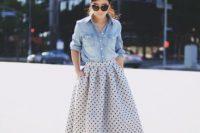 A-line midi polka dot skirt and button down shirt