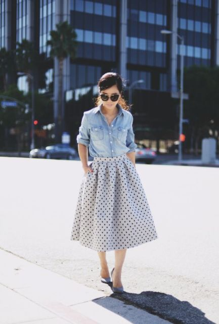 A-line midi polka dot skirt and button down shirt