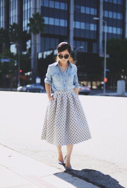 A line midi polka dot skirt and button down shirt