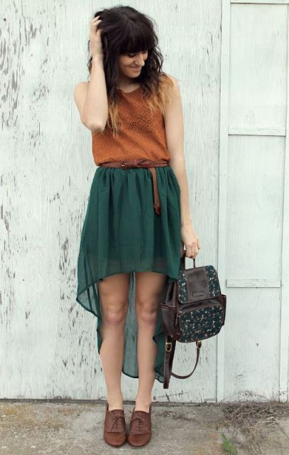 Airy high low skirt, shirt and flats