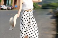Airy look with white blouse and polka dot skirt