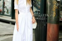 All white look with maxi shirtdress