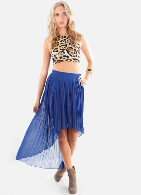 Animal printed top with assymetrical skirt