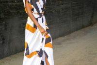 Awesome print maxi wrap dress