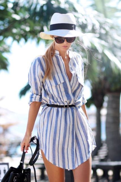 Beach look with striped shirtdress and hat