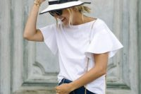 Bell sleeved shirt and denim skirt
