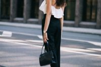 Black and white outfit with high waist pants