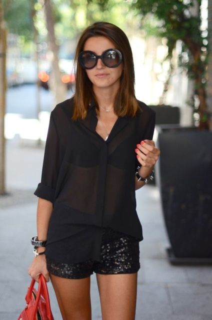 Black bra and black sheer shirt combination