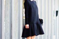 Black drop waist dress with white collar