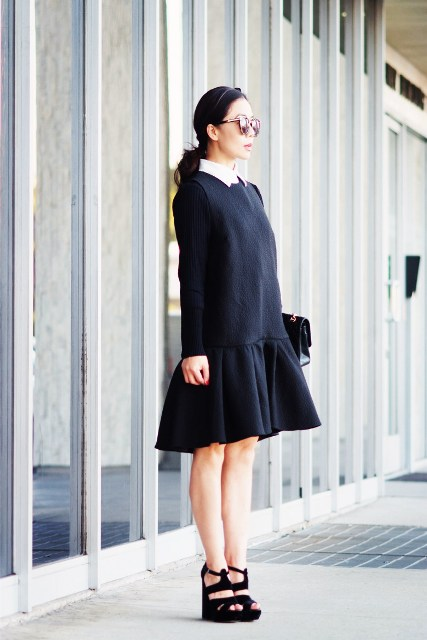 Black drop waist dress with white collar