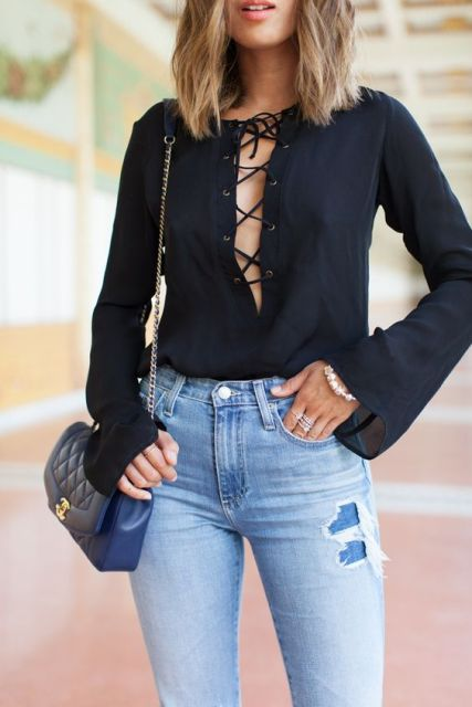 Black lace up blouse with jeans