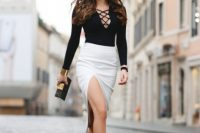 Black lace up top with side slit skirt