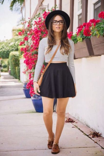 Black skirt with striped crop top