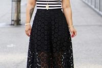 Black skirt with striped shirt