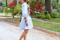 Blue embroidery drop waist dress