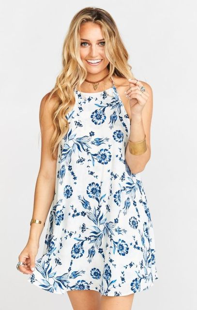 Blue floral printed halter dress