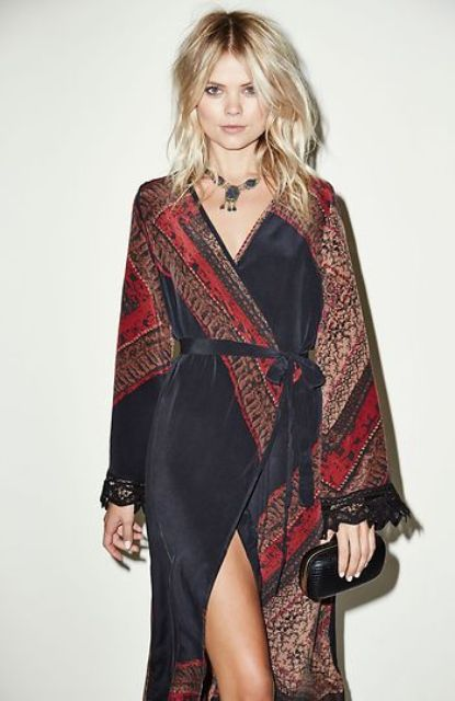 Boho chic wrap dress