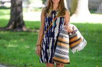 Boho styled look with tie dye dress
