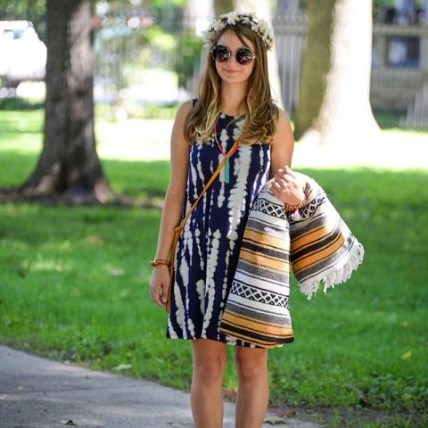 Boho styled look with tie dye dress