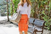 Bright look with orange lace skirt