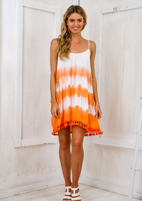 Bright tie dye tank dress with tassels