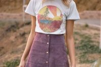 Button front skirt with scallop hem and printed t-shirt