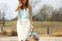 Casual look with blue blouse and white pencil lace skirt