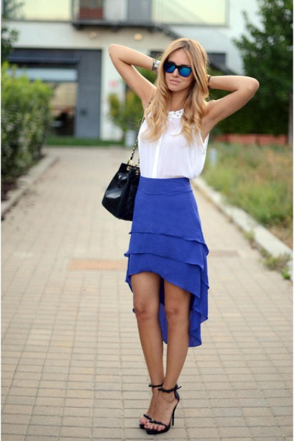 Casual look with blue assymetrical skirt and white blouse