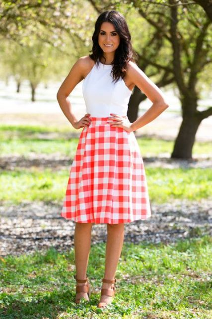 Casual look with checked skirt and white top