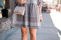 Casual look with drop waist dress and crossbody bag