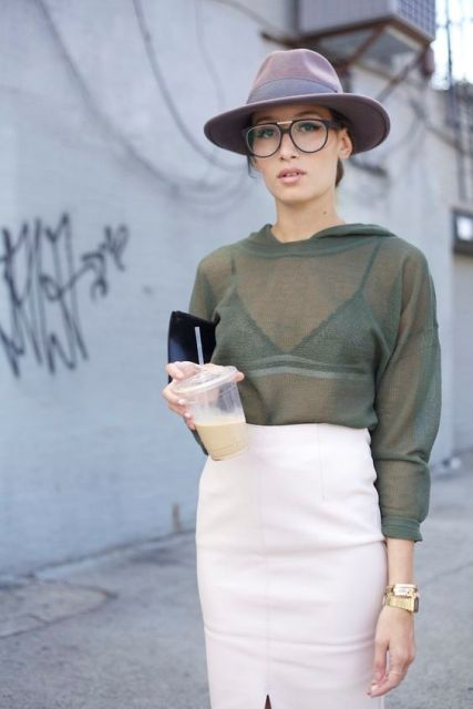 Casual look with green sheer shirt and sporty bra