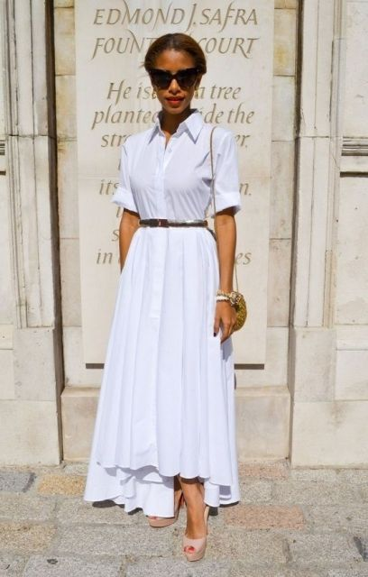 Casual look with white maxi skirt