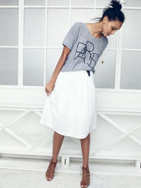 Casual look with white skirt and t shirt