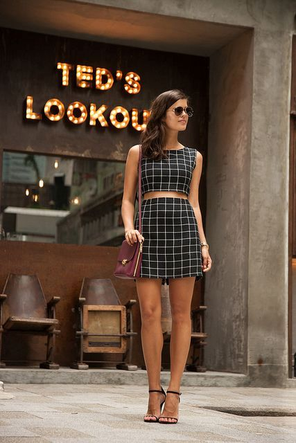 Checked skirt and top