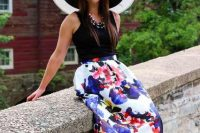Chic look with watercolor skirt