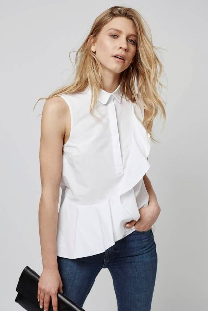 Classic look with white ruffle blouse and jeans