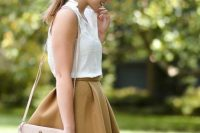 Classical look with skater skirt and white blouse