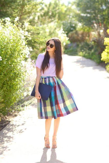 Colorful checked skirt and shirt
