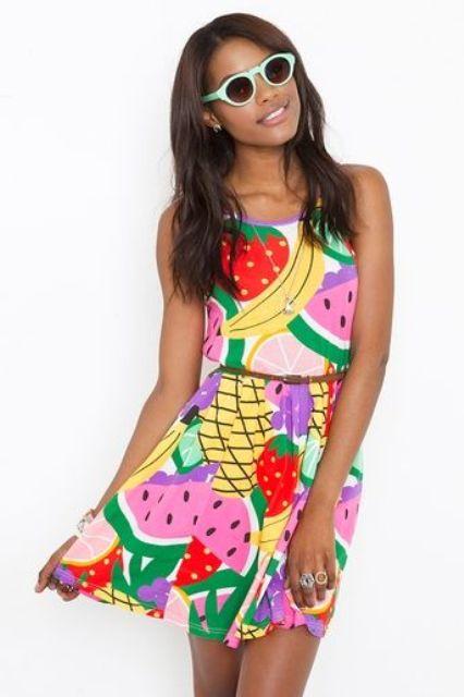 Colorful fruit print dress