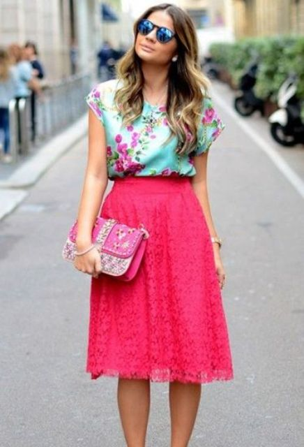 Colorful outfit with pink lace skirt and floral blouse