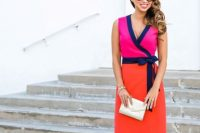 Colorful wrap dress with heels