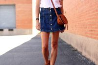 Comfy look with denim button front skirt and white shirt