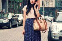 Comfy look with midi polka dot skirt